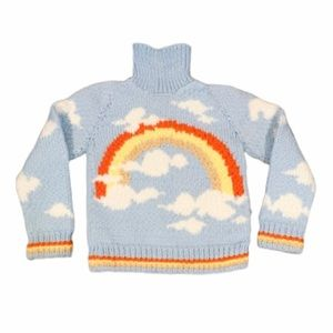 Vintage Hand Knit Retro Rainbow & Clouds Sweater